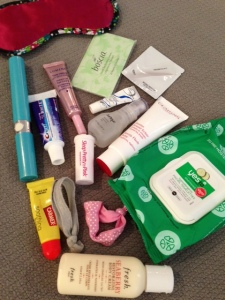 beauty bag for long flights